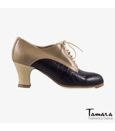 flamenco shoes professional for woman - Begoña Cervera - Butchler black alligator and camel leather carrete wood heel