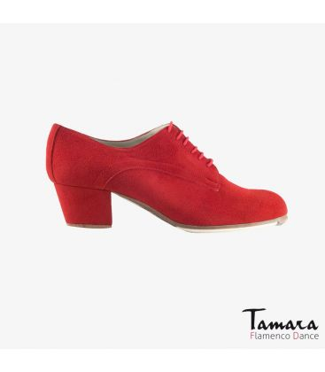 flamenco shoes professional for woman - Begoña Cervera - Butchler red suede cubano heel