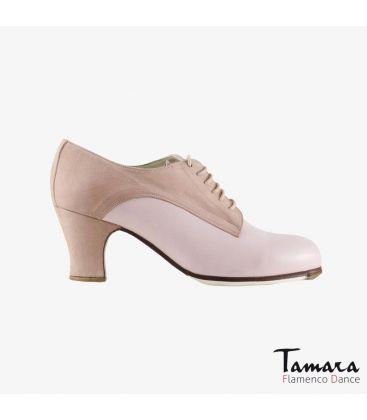 flamenco shoes professional for woman - Begoña Cervera - Butchler light pink suede and leather carrete