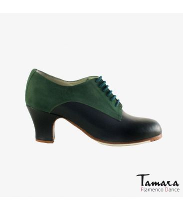 flamenco shoes professional for woman - Begoña Cervera - Butchler green suede and leather carrete