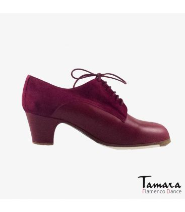flamenco shoes professional for woman - Begoña Cervera - Butchler bordeaux suede and leather classic 5cm heel
