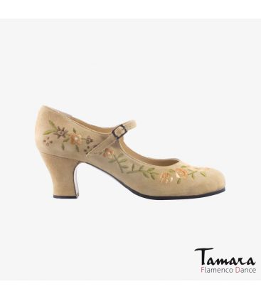 flamenco shoes professional for woman - Begoña Cervera - Bordado Correa I (embroidered) beige suede carrete