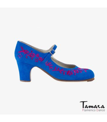 flamenco shoes professional for woman - Begoña Cervera - Bordado Correa I (embroidered) blue and fucsia suede classic heel