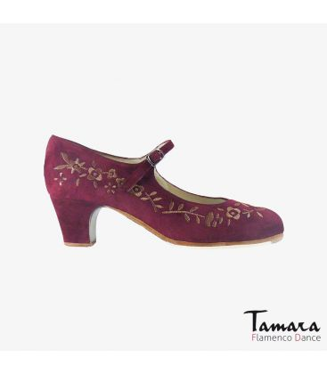 flamenco shoes professional for woman - Begoña Cervera - Bordado Correa I (embroidered) bordeaux suede classic 5cm heel