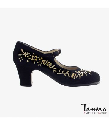 flamenco shoes professional for woman - Begoña Cervera - Bordado Correa I (embroidered) black suede classic heel