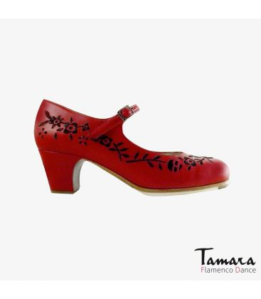 flamenco shoes professional for woman - Begoña Cervera - Bordado Correa I (embroidered) red and black leather classic 5cm heel