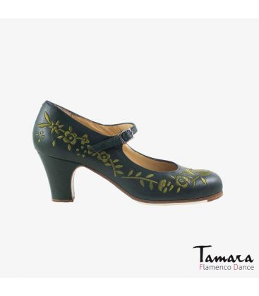 flamenco shoes professional for woman - Begoña Cervera - Bordado Correa I (embroidered) green leather classic heel