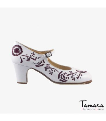flamenco shoes professional for woman - Begoña Cervera - Bordado Correa II (embroidered) white leather classic heel