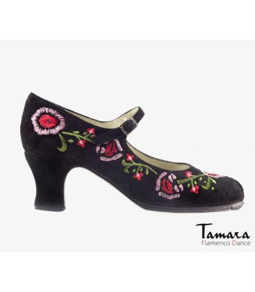 flamenco shoes professional for woman - Begoña Cervera - Bordado Correa II (embroidered) black suede carrete