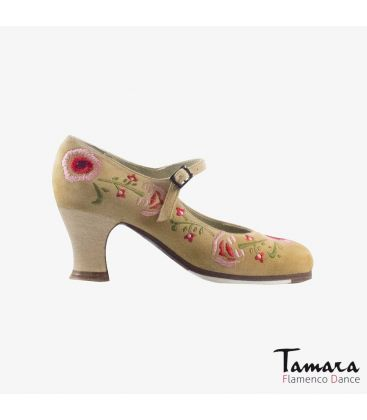 flamenco shoes professional for woman - Begoña Cervera - Bordado Correa II (embroidered) beige suede carrete wood