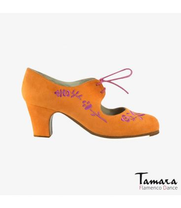 flamenco shoes professional for woman - Begoña Cervera - Bordado Cordonera (embroidered) caldera and fucsia suede classic heel