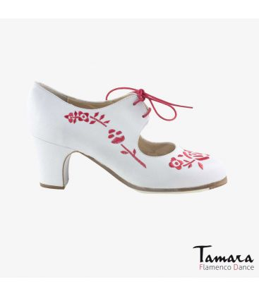 flamenco shoes professional for woman - Begoña Cervera - Bordado Cordonera (embroidered) white and red leather classic heel