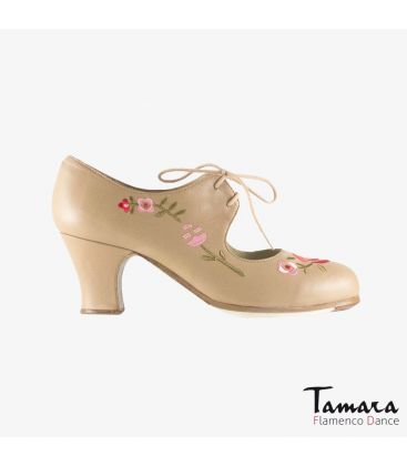 flamenco shoes professional for woman - Begoña Cervera - Bordado Cordonera (embroidered )beige leather carrete