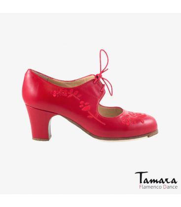 flamenco shoes professional for woman - Begoña Cervera - Bordado Cordonera (embroidered) red leather classic heel