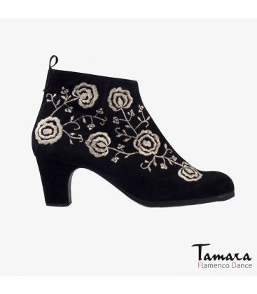 flamenco shoes professional for woman - Begoña Cervera - Botin Bordado (Embroidered) black suede