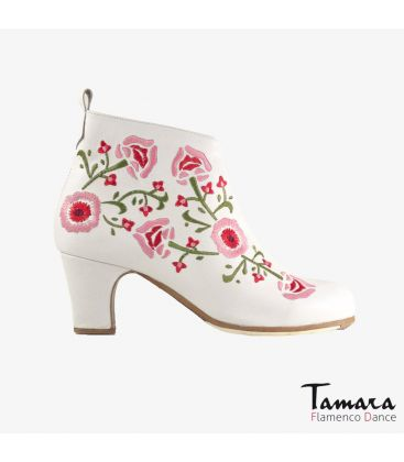 flamenco shoes professional for woman - Begoña Cervera - Botin Bordado (Embroidered) white leather