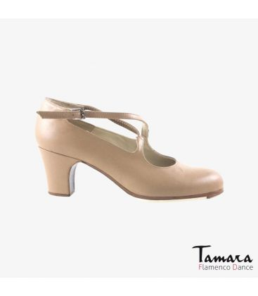 flamenco shoes professional for woman - Begoña Cervera - Cruzado beige leather classic heel