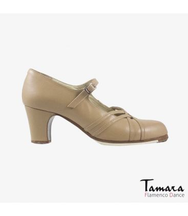 flamenco shoes professional for woman - Begoña Cervera - Calado beige leather classic heel