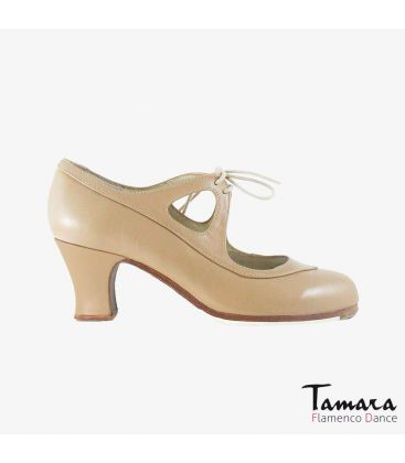 flamenco shoes professional for woman - Begoña Cervera - Candor beige leather carrete