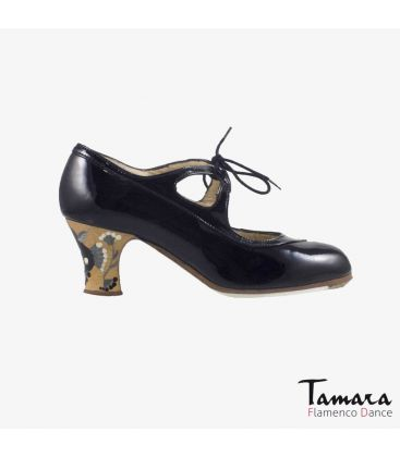 flamenco shoes professional for woman - Begoña Cervera - Candor black patent leather carrete painted heel