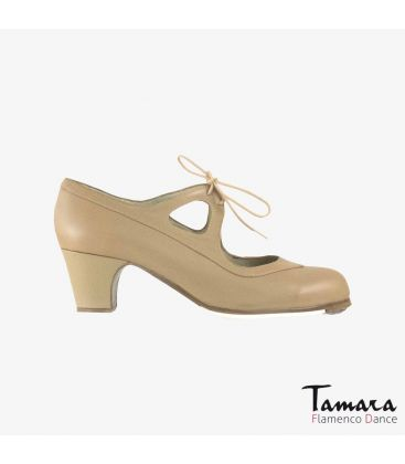 flamenco shoes professional for woman - Begoña Cervera - Candor beige leather classic 5cm heel