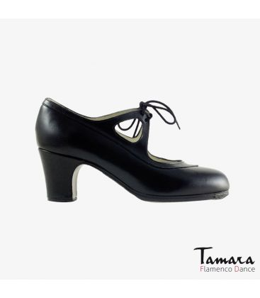 flamenco shoes professional for woman - Begoña Cervera - Candor black leather classic heel