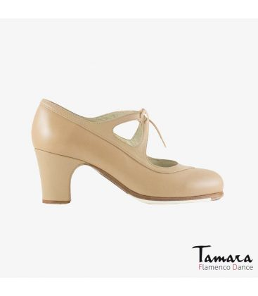 flamenco shoes professional for woman - Begoña Cervera - Candor beige leather classic heel
