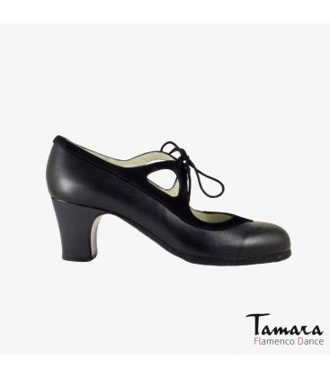 flamenco shoes professional for woman - Begoña Cervera - Candor black leather and suede classic heel