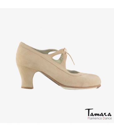 flamenco shoes professional for woman - Begoña Cervera - Candor beige suede carrete