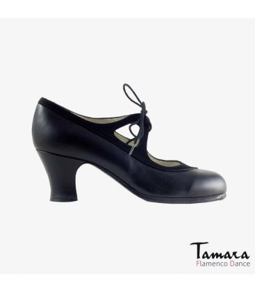 flamenco shoes professional for woman - Begoña Cervera - Candor black suede and leather carrete