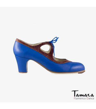 flamenco shoes professional for woman - Begoña Cervera - Candor blue leather and brown alligator classic heel