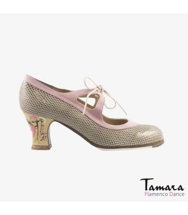 flamenco shoes professional for woman - Begoña Cervera - Candor beige snakeskin and light pink suede carrete painted heel