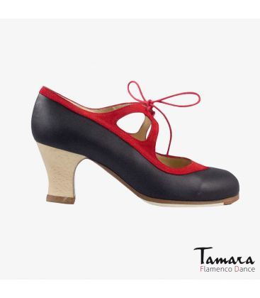 flamenco shoes professional for woman - Begoña Cervera - Candor black leather and red suede carrete wood