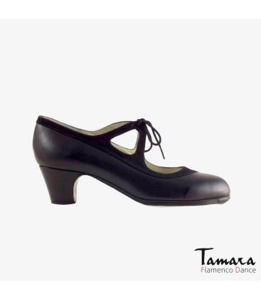 flamenco shoes professional for woman - Begoña Cervera - Candor black leather and suede classic 5cm heel