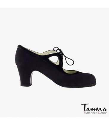 flamenco shoes professional for woman - Begoña Cervera - Candor black suede classic heel