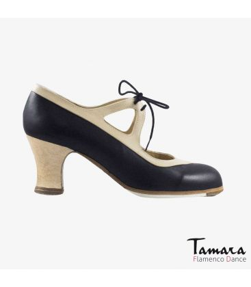 flamenco shoes professional for woman - Begoña Cervera - Candor black and chino leather carrete wood