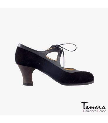 flamenco shoes professional for woman - Begoña Cervera - Candor black suede grey leather carrete dark wood
