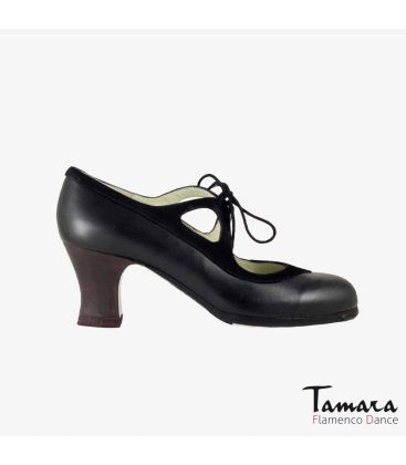flamenco shoes professional for woman - Begoña Cervera - Candor black suede and leather carrete dark wood