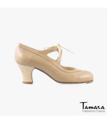flamenco shoes professional for woman - Begoña Cervera - Candor beige leather carrete wood