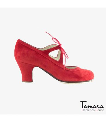 flamenco shoes professional for woman - Begoña Cervera - Candor red suede carrete