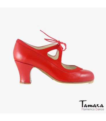 flamenco shoes professional for woman - Begoña Cervera - Candor red suede and leather carrete