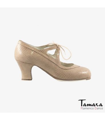 flamenco shoes professional for woman - Begoña Cervera - Candor beige snakeskin carrete