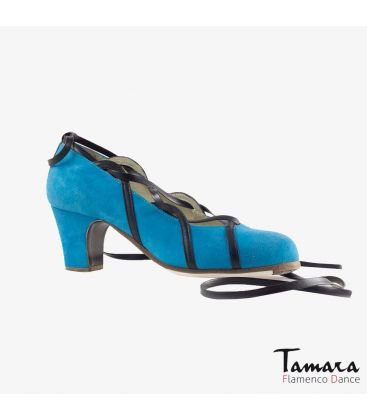flamenco shoes professional for woman - Begoña Cervera - Cintas blue and black suede classic heel