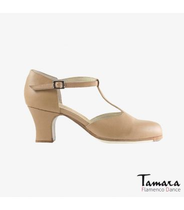 flamenco shoes professional for woman - Begoña Cervera - Clásico Español I beige leather carrete