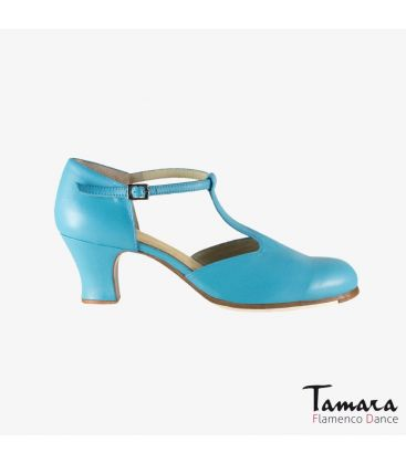 flamenco shoes professional for woman - Begoña Cervera - Clásico Español I turquoise leather carrete