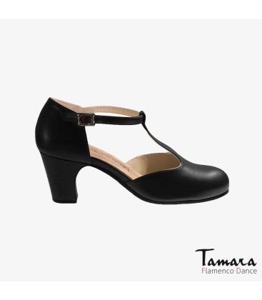 flamenco shoes professional for woman - Begoña Cervera - Clásico Español I black leather classic heel