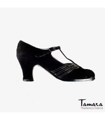flamenco shoes professional for woman - Begoña Cervera - Class black suede and patent leather carrete