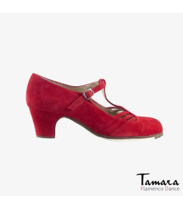 flamenco shoes professional for woman - Begoña Cervera - Class red suede classic 5cm heel