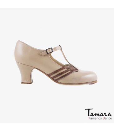 flamenco shoes professional for woman - Begoña Cervera - Class beige leather brown alligator carrete