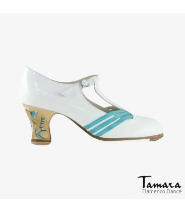 flamenco shoes professional for woman - Begoña Cervera - Class white patent leather carrete painted